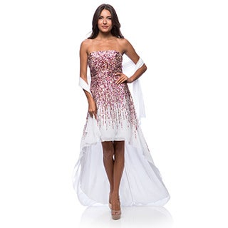 DFI Women's Long High Low Sequin Dress