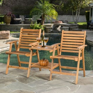 Christopher Knight Home Bernardo Outdoor Acacia Wood Adjoining Chairs