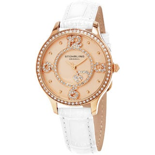 Stuhrling Original Women's Quartz Leather Strap Austrian Crystal Watch