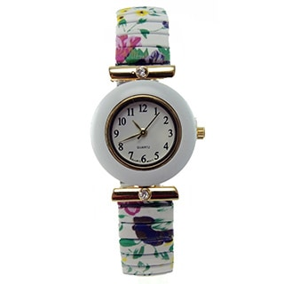Women's Stretch Band Watch Faux Marble Bezel and Crystal Accents