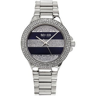 SO&CO New York Women's Quartz Swarovski Crystal Stainless Steel Link Bracelet Watch