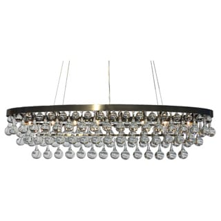 Celeste Rectangular Oval Glass Drop Crystal Chandelier, Antique Brass