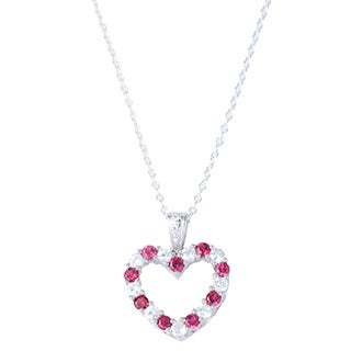 H Star Sterling Silver Created Ruby and Created White Sapphire Heart Necklace