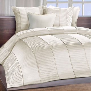 Chauran Cerisse Ivory Sateen Ambi Ridge Pleated Duvet Cover