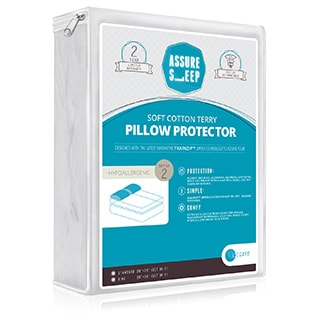 Assure Sleep Breathable Soft Cotton Terry Pillow Protector (Set of 2)