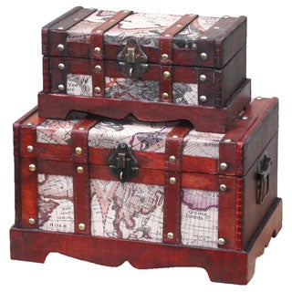 Old World Map Wooden Trunk (Set of 2)