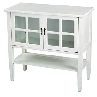 2 Door Console Cabinet with Glass Insert & Bottom Shelf