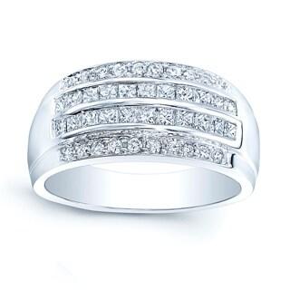 18k White Gold 4/5ct TDW Diamond 3-row Band (H-I SI1-SI2) (Size 6.5)