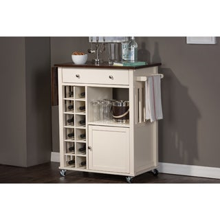 Baxton Studio Justin Modern Contemporary Cream White Solid Wood Kitchen Cart with Dark Oak Drop Leaf Top and Built-in Wine Rack