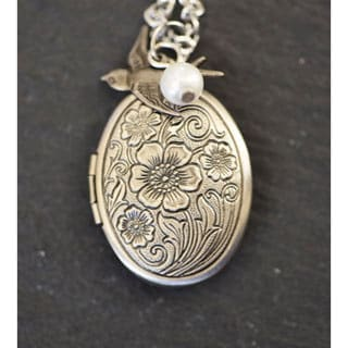 Mint Jules Ornate 30-inch Oval Picture Locket Necklace with Pearl and Bird Charm