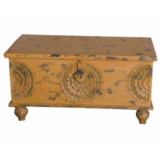 Porter Leela Yellow Hand-carved Medallion Coffee Table Trunk (India)