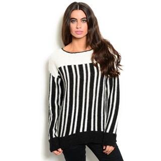 Shop the Trends Women's Stripe Long-Sleeve Knit Sweater
