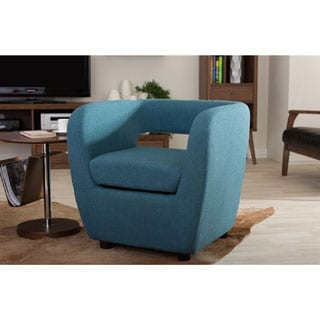Baxton Studio Ramon Mid-century Modern Blue Fabric Upholstered Accent Lounge Chair
