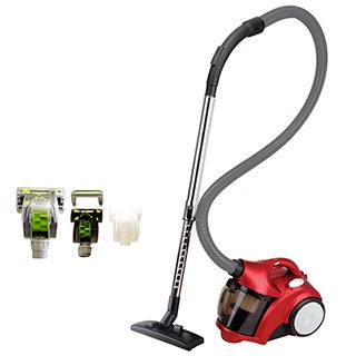 Ovente ST2500R1 Red Bagless Cyclonic Vacuum With Sofa Brush