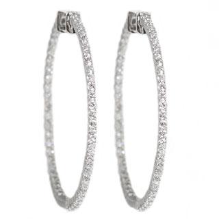 Beverly Hills Charm 14K White Gold 2ct TDW Diamond Inside-out Hoop Earrings (H-I, SI2-I1)