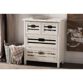 Baxton Studio Rococo Shabby Chic Vintage Pine Wood Whitewash Finished 4-drawer Storage Cabinet