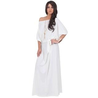 Koh Koh Women's One Shoulder 3/4-Length Sleeve Cocktail Evening Maxi Dress