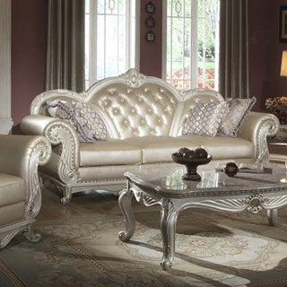 Meridian Pearl White Marquee Sofa with Reversible Crystal-tufted Cushion
