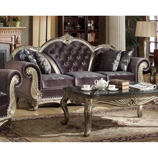 Meridian Roma Antique Silvertone and Dark Grey Velvet Sofa with Reversible Cushions