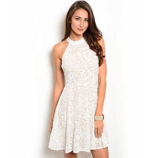 Shop the Trends Women's Sleeveless Applique Design Classic A-Line Dress