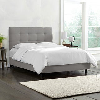 Skyline Furniture Tufted Bed in Linen Grey