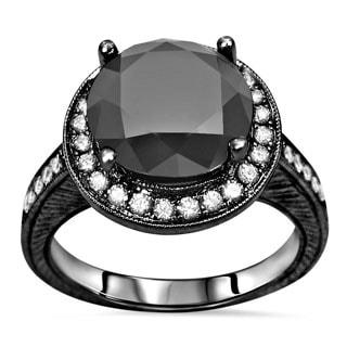 Noori Certified 14k Black Plated Gold 3 1/2 ct TDW Black Round Diamond Halo Engagement Ring (SI1-SI2)