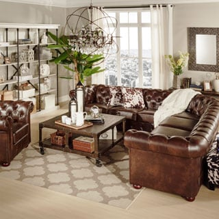 SIGNAL HILLS Knightsbridge Tufted Scroll Arm Chesterfield 7-Seat L-Shaped Sectional