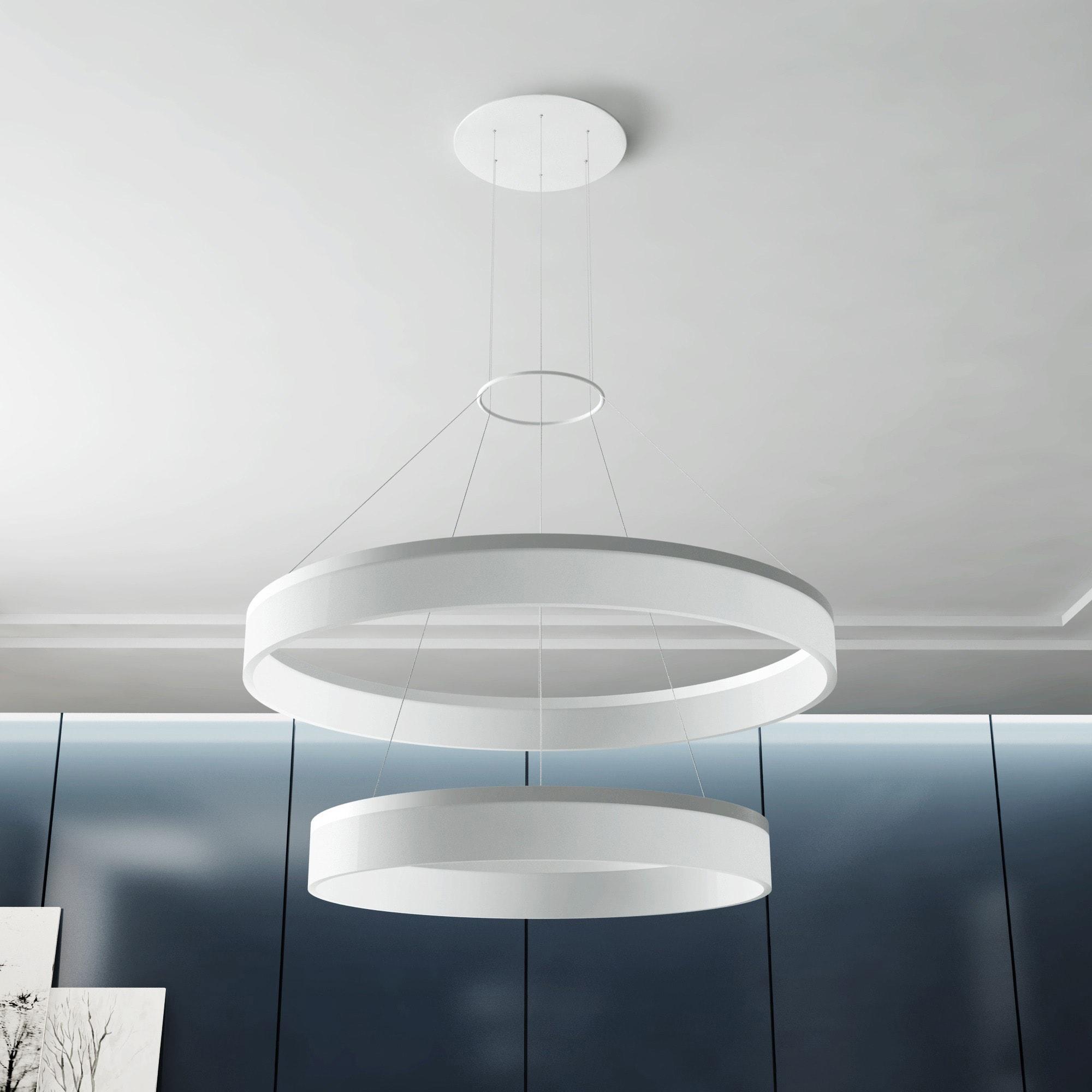 VONN Lighting Tania Duo 23-inch LED Two-tier Satin Nickel Orbicular Chandelier