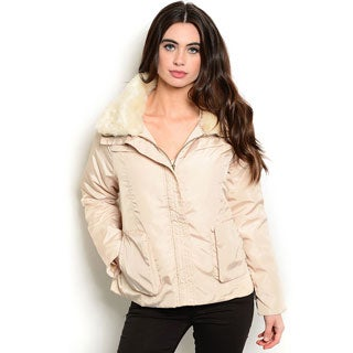 Shop the Trends Women's Long-Sleeve Puffer Jacket with Fur Collar