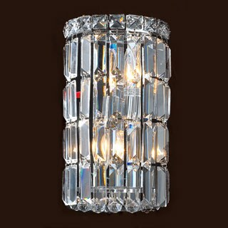 Contemporary 2-light Chrome Finish and Clear Crystal Curved Wall Sconce Small 4 inches wide