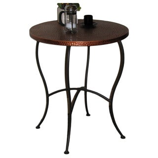 Hammered Metal Round Accent Table