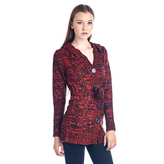 Women's Red and Black Cotton Blend Sweater