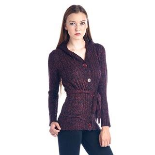 Women's Maroon Belted Fashion Sweater