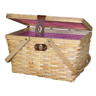 Large Gingham Lined Wood Picnic Basket