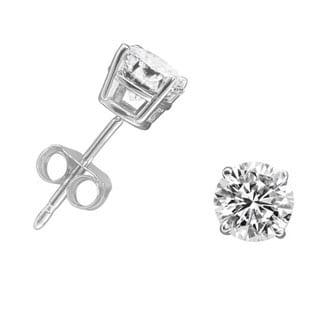 10k White Gold 3/4ct TDW Round-cut Diamond Stud Earrings (H-I, I1-I2)