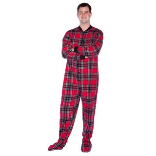 Big Feet Pajama Company Unisex Red and Black Plaid Cotton Flannel Adult Footed Pajamas
