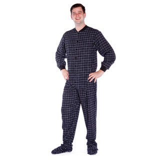 Big Feet Pajama Company Unisex Black and White Plaid Cotton Flannel Adult Footed Pajamas