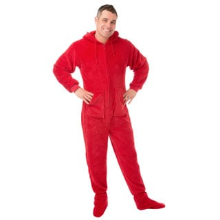 Red Plush Unisex Adult Hoodie Footed Pajamas