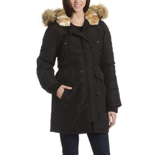 Steve Madden Women's Zip Off Hood Trim Winter Coat