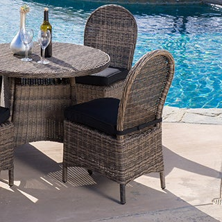 Christopher Knight Home Malachi Outdoor Multi-black Wicker Dining Chair with Cushion (Set of 2)