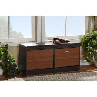 Baxton Studio Foley Modern Contemporary 2-tone Dark Brown Oak Finish Entryway Storage Cushion Bench Shoe Rack Cabinet Organizer