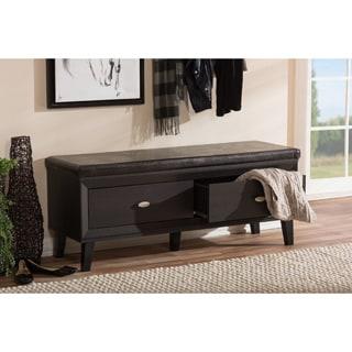 Baxton Studio Emmett Modern Contemporary 2-drawer Dark Brown Wood Entryway Storage Cushioned Bench Shoe Rack Cabinet Organizer