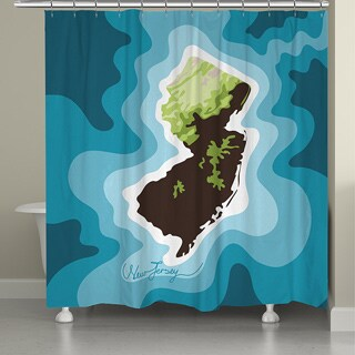 Laural Home New Jersey Topographic Abstract Map Shower Curtain 71x74