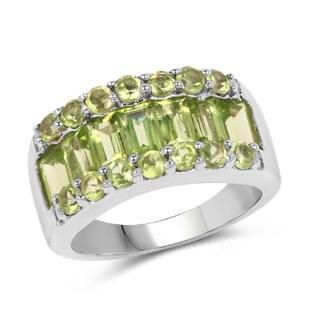 Malaika 2.73 Carat Genuine Peridot .925 Sterling Silver Ring