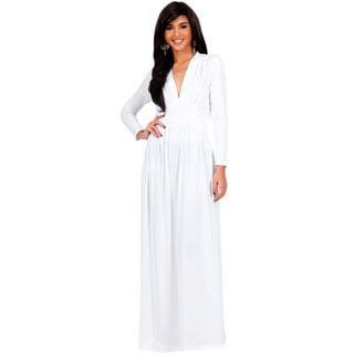 KOH KOH Women's Vintage Inspired V-neck Long Sleeve Maxi Dress