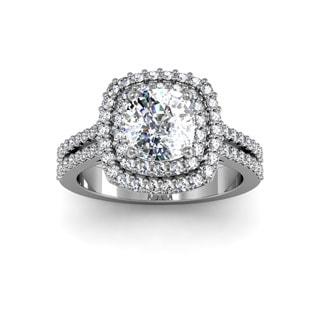 14k White Gold 2 1/2ct Halo with 1 1/2ct Cushion-cut Center Diamond Engagement Ring (H-I, I1-I2 Clarity Enhanced)