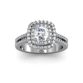 14k White Gold 1 1/2ct Halo with 3/4ct Cushion-cut Center Diamond Engagement Ring (H-I, I1-I2 Clarity Enhanced)