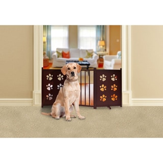 Furhaven Mahogany Finish Paw Pet Gate
