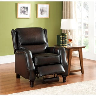 Liberty Wingback Brown/ Red Hand Rubbed Premium Top Grain Leather Recliner Chair