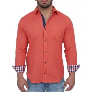 Giorgio Men's Tailored Fit Orange Solid Linen Blend Brato Casual Shirt